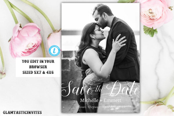 Save the Date Template, Editable, Printable, Instant Download, Wedding Save the Date Card Template, Template, Wedding Announcement, DIY card