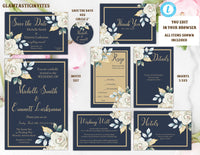 Ivory Navy Blue Gold Rose Wedding Invitation Template, Blue and Gold Wedding Invitation Template, Editable, Wedding invitation Suite, Formal
