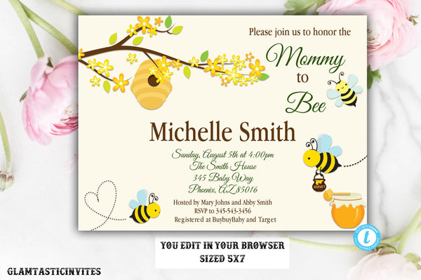 Bee Baby Shower Invitation, Baby Shower Invitation, Bee and Honey Comb, Baby Shower, Bee Shower Invitation, Bee Invite, YOU EDIT, Template