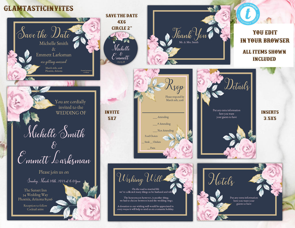 Pink Navy Blue Gold Rose Wedding Invitation Template Blue And Gold