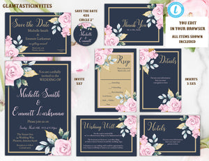 Pink Navy Blue Gold Rose Wedding Invitation Template, Blue and Gold Wedding Invitation Template, Editable, Wedding invitation Suite, Formal