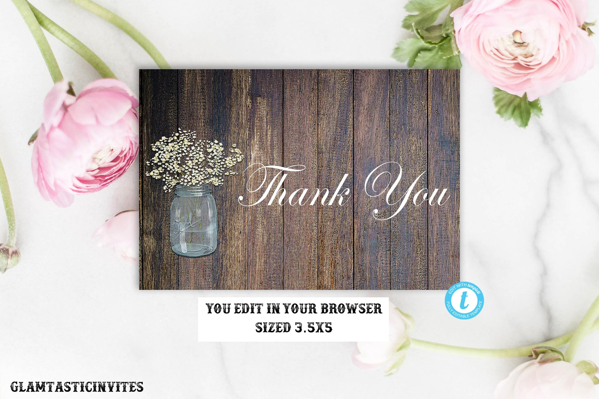Rustic Thank You Card Template, Digital file, Instant Download, Rustic Mason Jar Thank you Card, Wedding Thank You Card, Instant Download