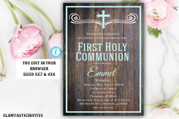 Rustic First Communion Invitation Template, Boy First Communion Invitation, First Communion Invitation, Editable,Printable, Instant Download