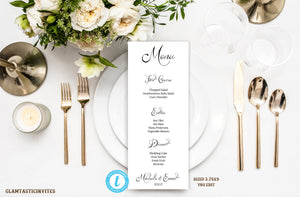 Wedding Menu Template, Printable Menu Template, Wedding Menu, Instant Download, Wedding Dinner Menu, Editable, Editable Text and Color, DIY