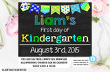 First Day of School Sign Template, Back to School, Printable Chalkboard Poster, First day of Kindergarten Sign, Any Age, Any Grade, Template