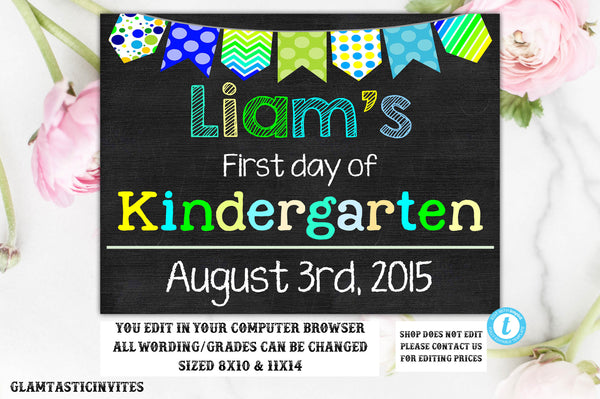 photo regarding First Day of Kindergarten Printable identify To start with Working day of Faculty Indicator Template, Back again toward College, Printable Chalkboard Poster, Initial working day of Kindergarten Signal, Any Age, Any Quality, Template