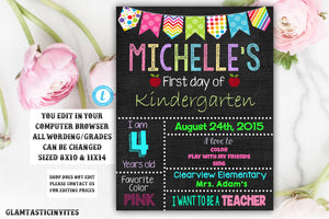 First day of Kindergarten sign Template, First day of school sign, Girls Kindergarten School Chalkboard poster, 1st day Back to School Sign