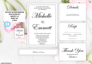 Editable Wedding Invitation Suite Template Kit, Elegant Calligraphy Wedding Invitation, Instant Download, Cheap Online Wedding Invitation