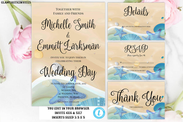 Beach Wedding Invitation, Wedding Template, Instant Download, Beach, Elopement, Destination Wedding Invitation, Sand, Ocean,Beach Party, DIY