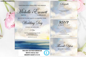 Beach Wedding Invitation Suite Template, Wedding Invitation Set, Template, Beach, Ocean, Watercolor, Cheap Invite, Online Wedding Invite,DIY
