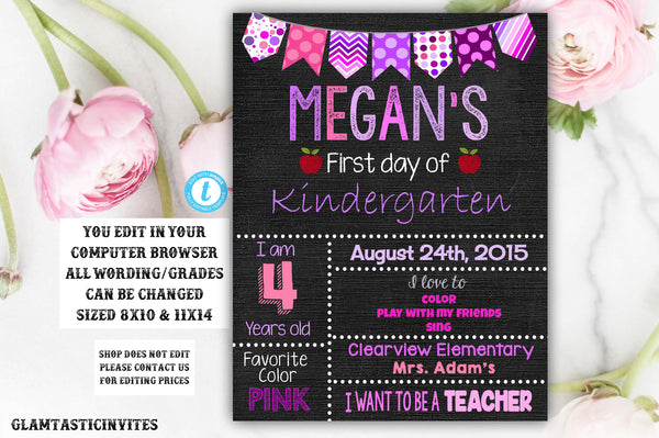First Day of School Sign, Printable Back To School Sign, First Day of School Chalkboard Sign, Kindergarten Sign, Chalkboard Sign, First Day