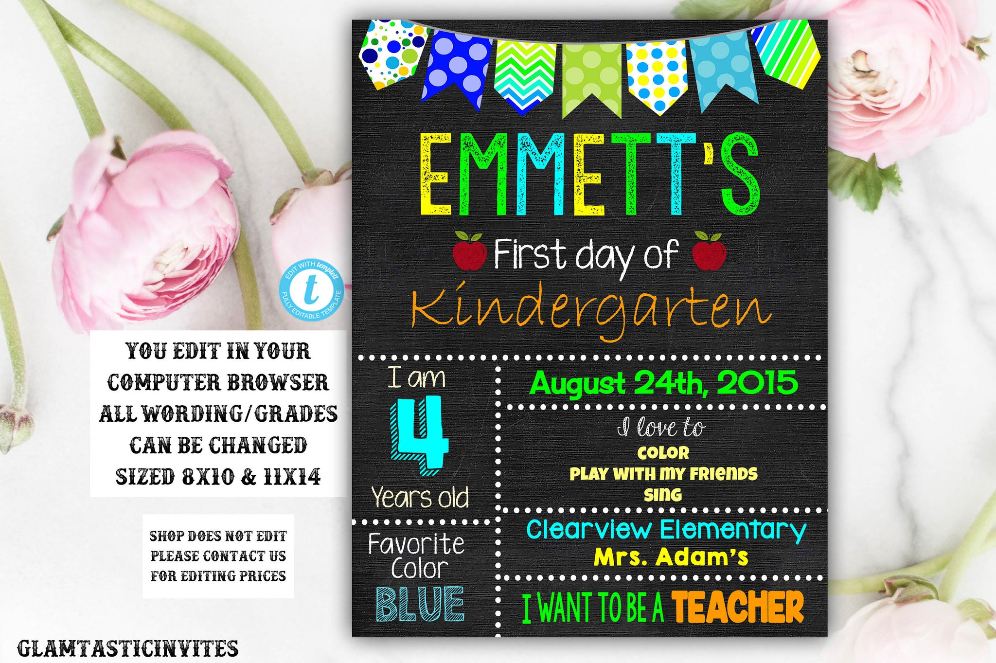 First Day Of School Sign Template Back To School Printable
