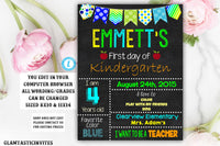 First Day of School Sign Template, Back to School, Printable Chalkboard Poster, First day of Kindergarten Sign, Editable, Printable Sign