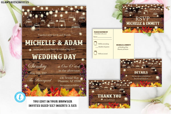 Rustic Fall Wedding Invitation, Rustic Wedding Template, Wedding Template, Fall Wedding Template, Instant Download, Wedding Template, Edit
