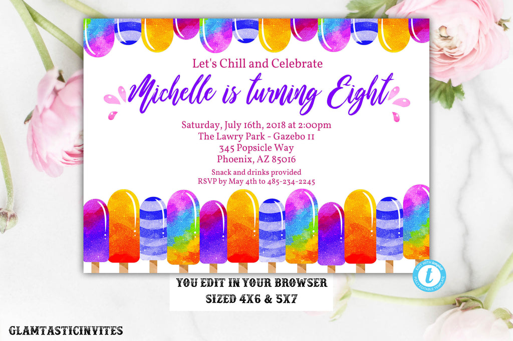 glitter popsicle birthday invitation template instant download