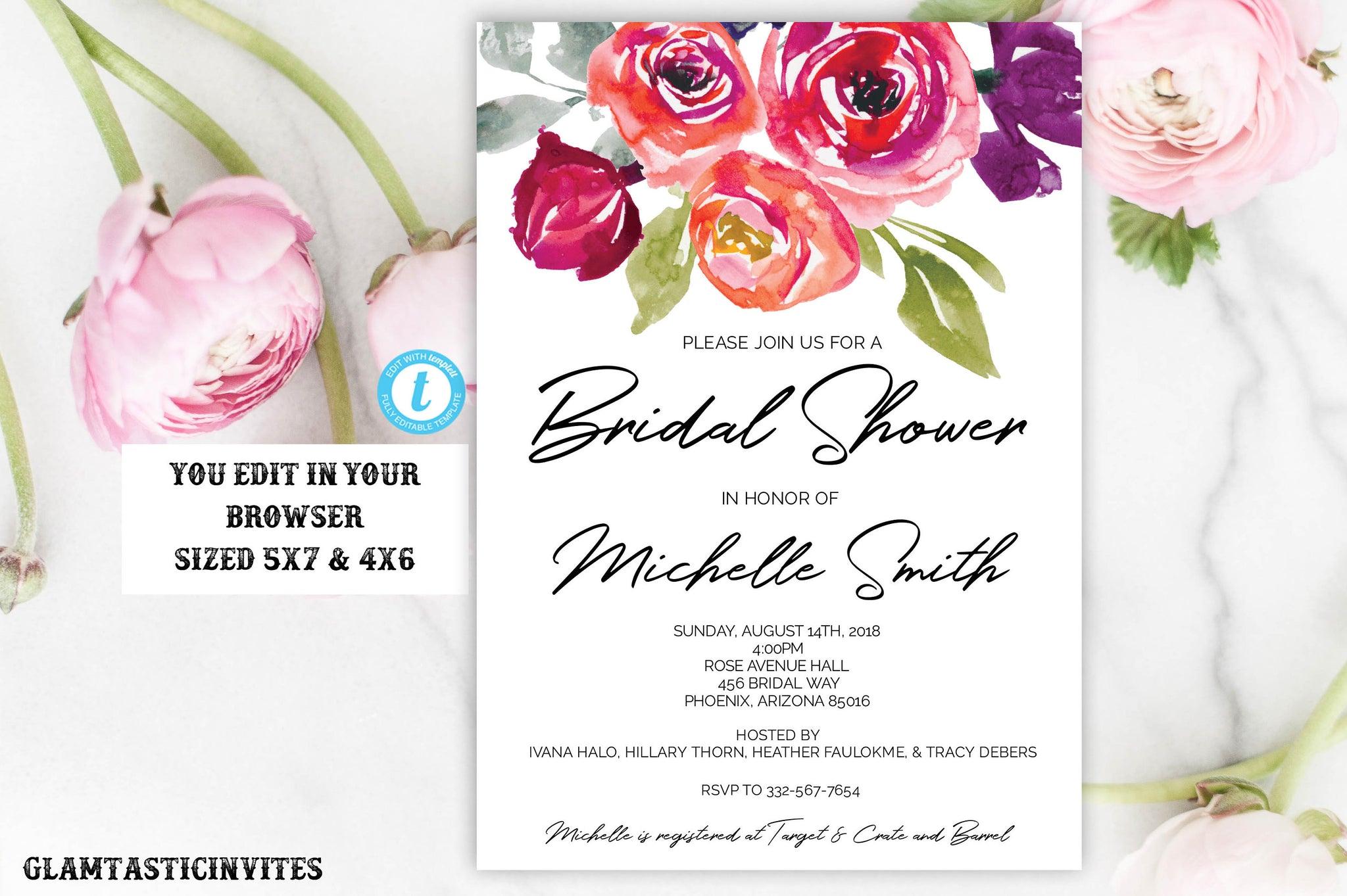 Floral Colorful Boho Elegant Rustic Calligraphy Black Script Flower Instant Download Editable Printable Bridal Shower Invitation Template