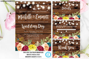 Wedding Invitation Suite, Instant Download, Editable,Wedding invitation Template, Rustic Wedding Template, Fall, Floral, Editable, Printable