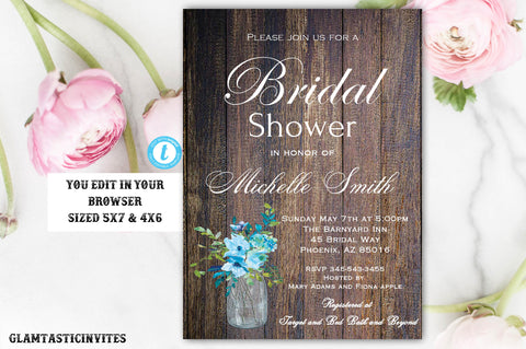 Bridal Shower Invitation Template, Rustic Bridal Shower Invite, Instant Download, Wedding Shower Instant Download, Blue Hydrangea Template