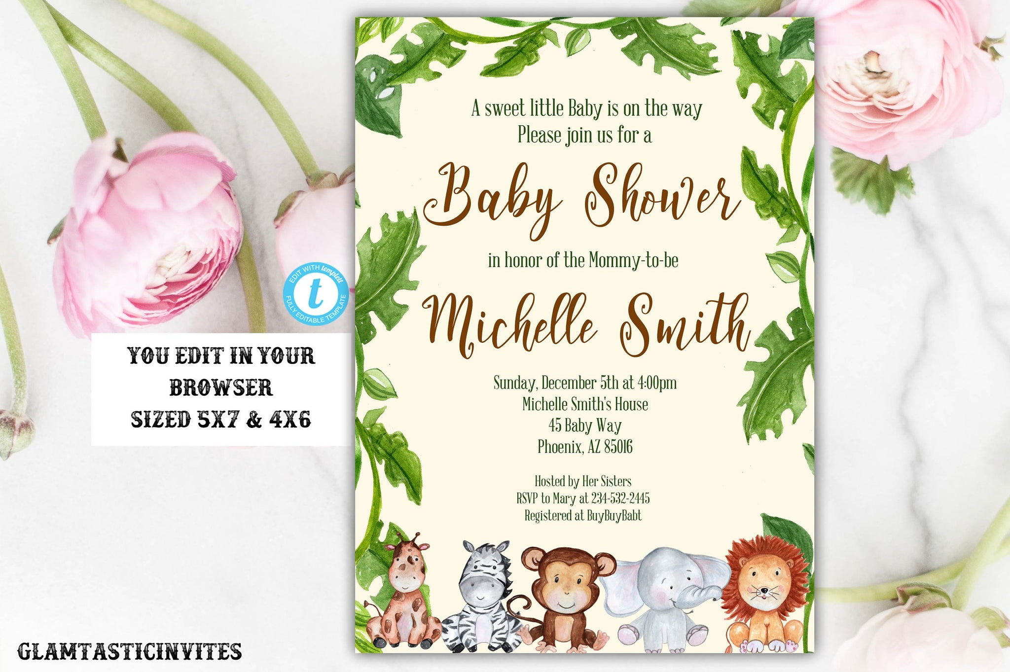 Jungle Baby Shower Invitation, Baby Shower Template, Baby Shower Invitation, Giraffe, Elephant, Monkey, Zebra, Safari, Jungle, You Edit, DIY