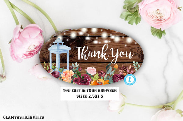 Rustic Thank You Favor Oval Tag Template, Instant Download, Editable, Template, Bridal Shower Thank You Tag Template, Baby Shower Thank You