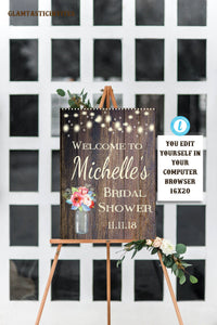 Rustic Bridal Shower Welcome Sign Template, Flower Bridal Shower Sign, Rustic Bridal Shower, Rustic Decor, Baby Shower, Shower, Digital, DIY