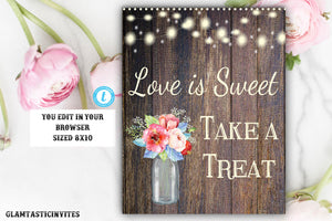 Love is Sweet Take a Treat Sign Template, Instant Download, Editable, Printable, Love is Sweet, Bridal, Baby, DIY Shower, Template, Rustic