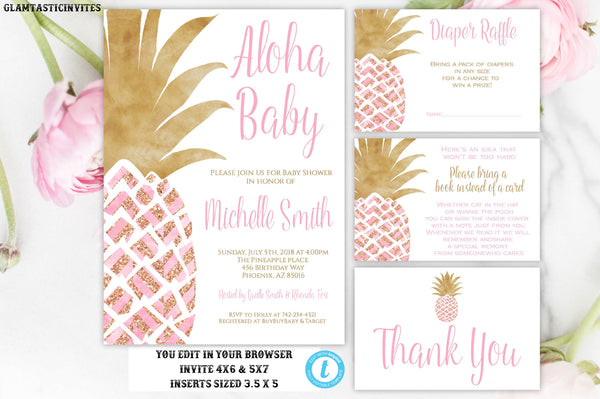 Pineapple Baby Shower Invitation, Pink and Gold Pineapple Girl Baby Shower Invitation Package Template, Instant Download, Editable Printable