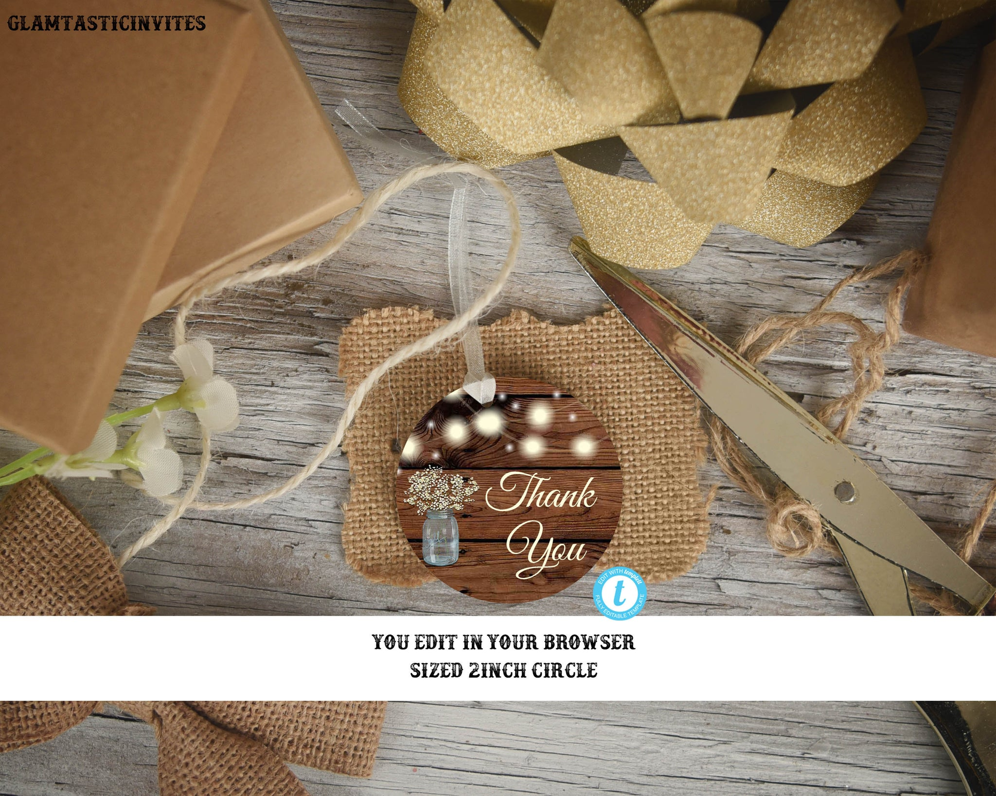 Rustic Thank you Tags, Editable Favor Tags, Digital File, Wedding Thank you Favor tags, Thank you Stickers, Shower Thank You Tags, You edit