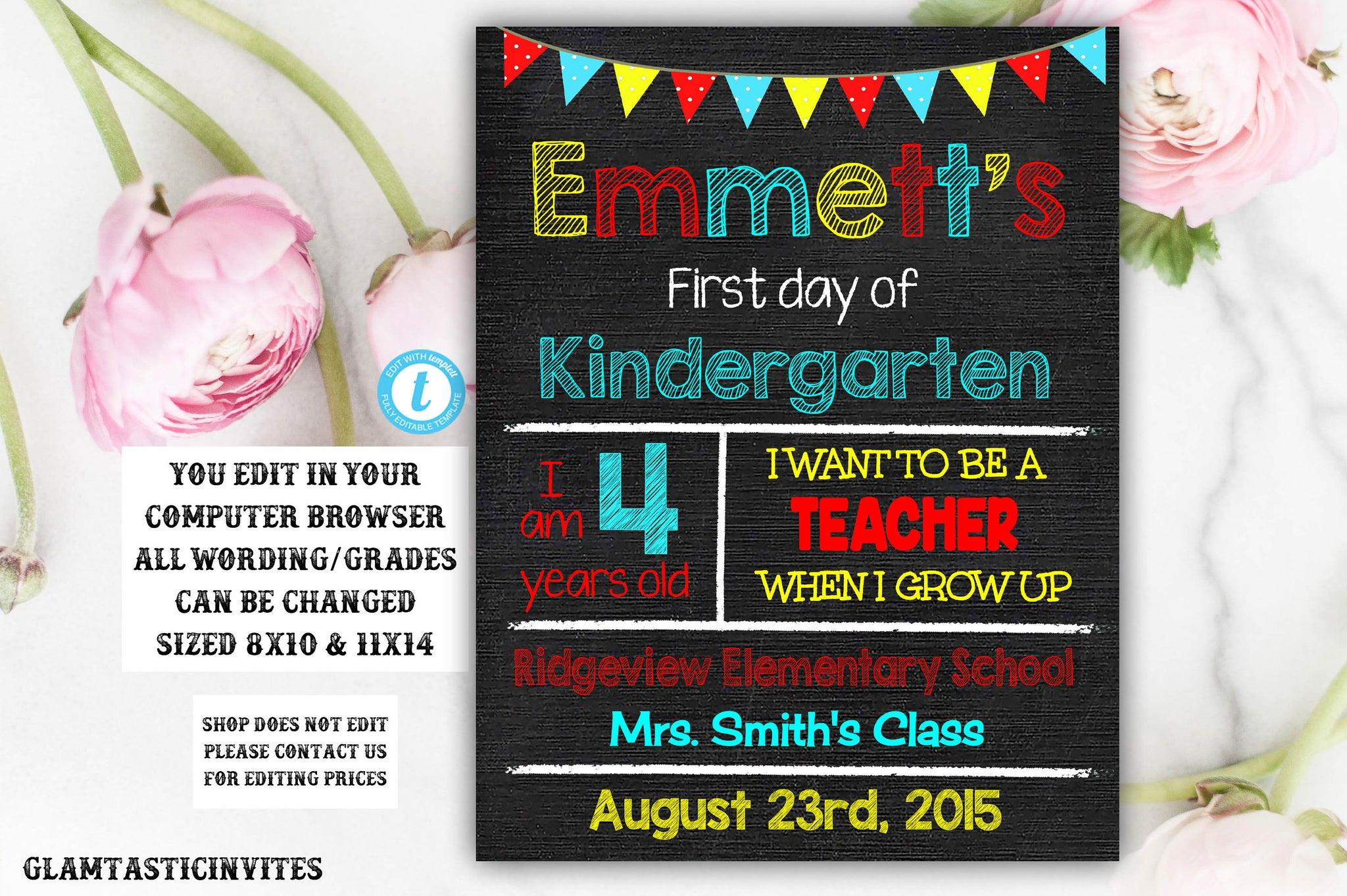 YOU EDIT First Day of School Sign Chalkboard Template Printable Editable Instant Download First Grade Second Grade Third Grade Nursery Sign