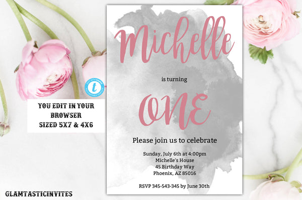 Grey Rose Gold Watercolor Birthday Invitation Template, Instant Download, Editable Printable, First Birthday, One, Grey, Birthday Invitation