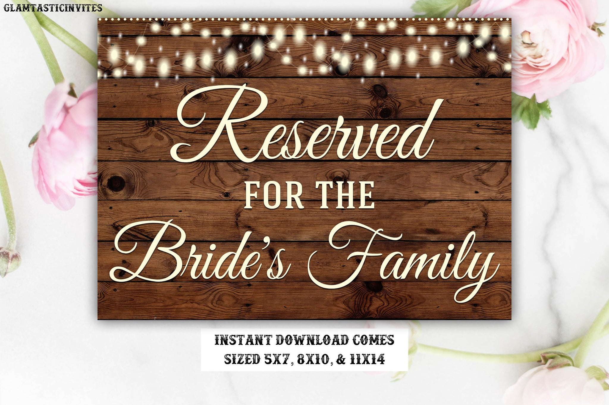 Printable Wedding Sign, Reserved Sign, Rustic Reserved Sign, Printable Sign, Wedding Sign, Rustic Wedding, Reserved for the Bride's Family
