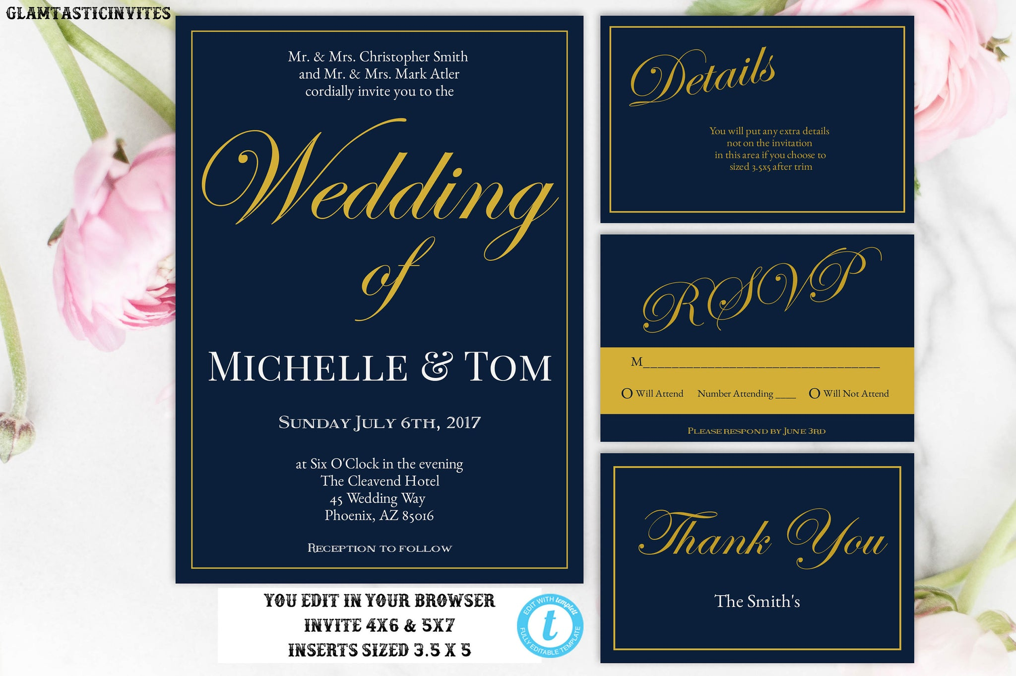 Wedding Invitation, Navy Blue Wedding Invitation, Gold Wedding Invitation, INSTANT DOWNLOAD, Wedding Invitation Set, Navy Blue, Gold, Invite
