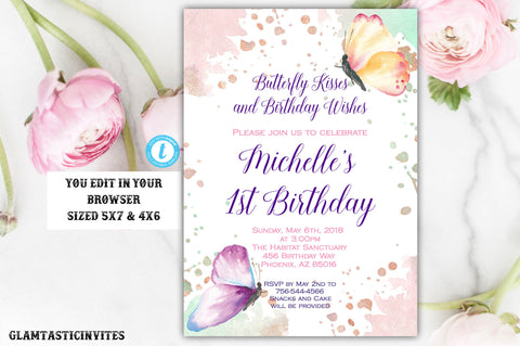 Butterfly Birthday Invitation Template, Instant Download, Editable, Printable, Butterfly, Birthday Invite Template, Butterflies, Butterfly
