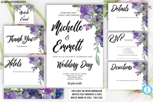 Purple Blue Floral Wedding Invitation Template, Printable, Template, Instant Download, DIY Wedding, Wedding Template, Boho, Script, Editable