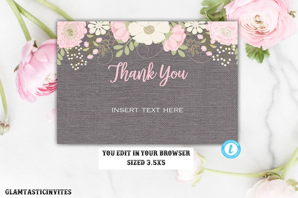 Floral Grey Rustic Thank You Card Template, Instant Download, Editable, Printable, Thank You Card, Thank You Template, Baby Shower, Bridal