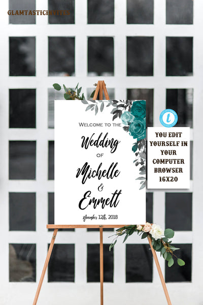 Wedding Welcome Sign Template, Floral Teal Sign, Wedding Sign, Bridal Shower Sign, Welcome Sign, Digital Sign, Printable, Instant Download