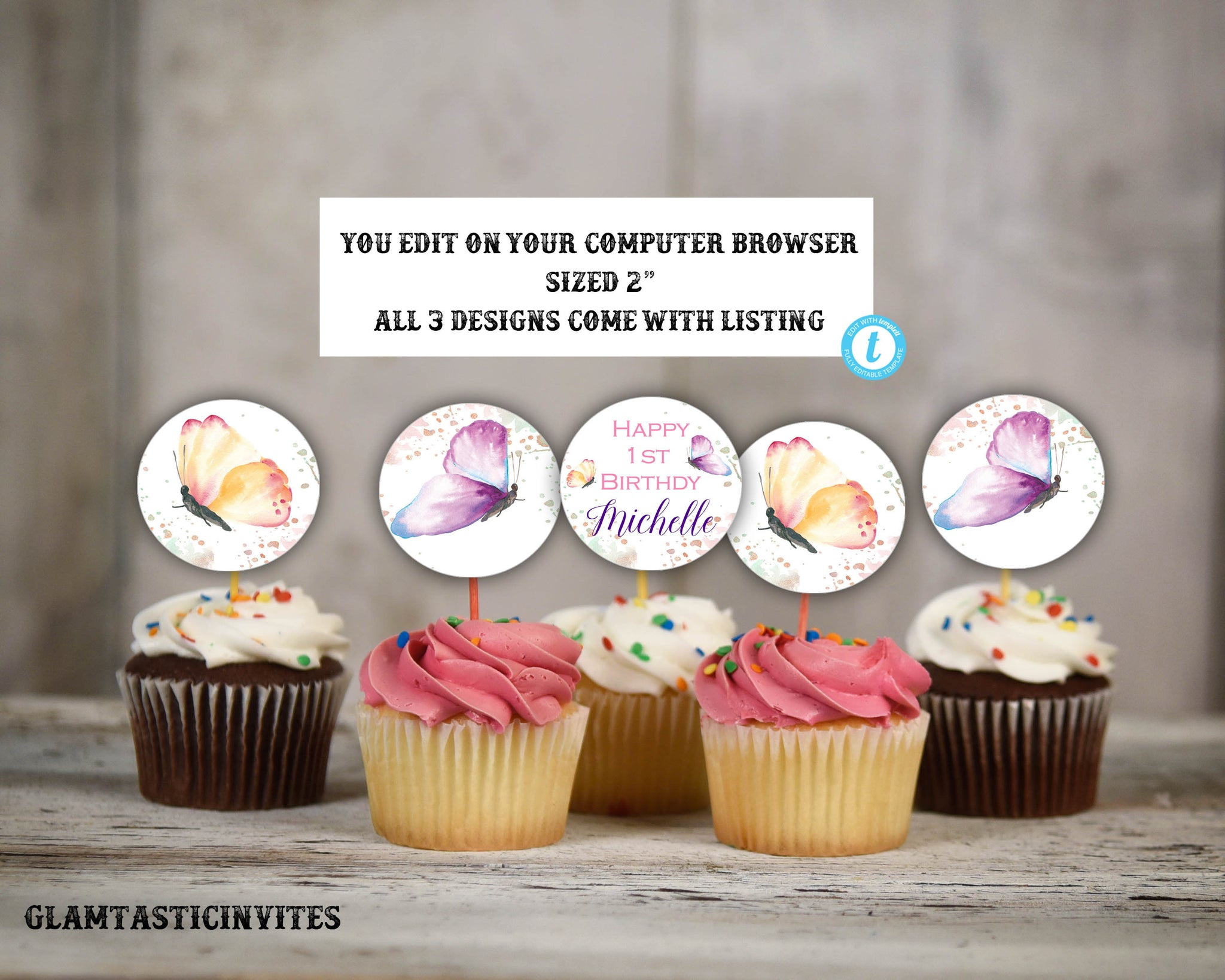 Butterfly Cupcake Toppers Favor Tags Template, Instant Download, Editable, Printable, Butterfly, Birthday Invite Template, Butterflies, Tags