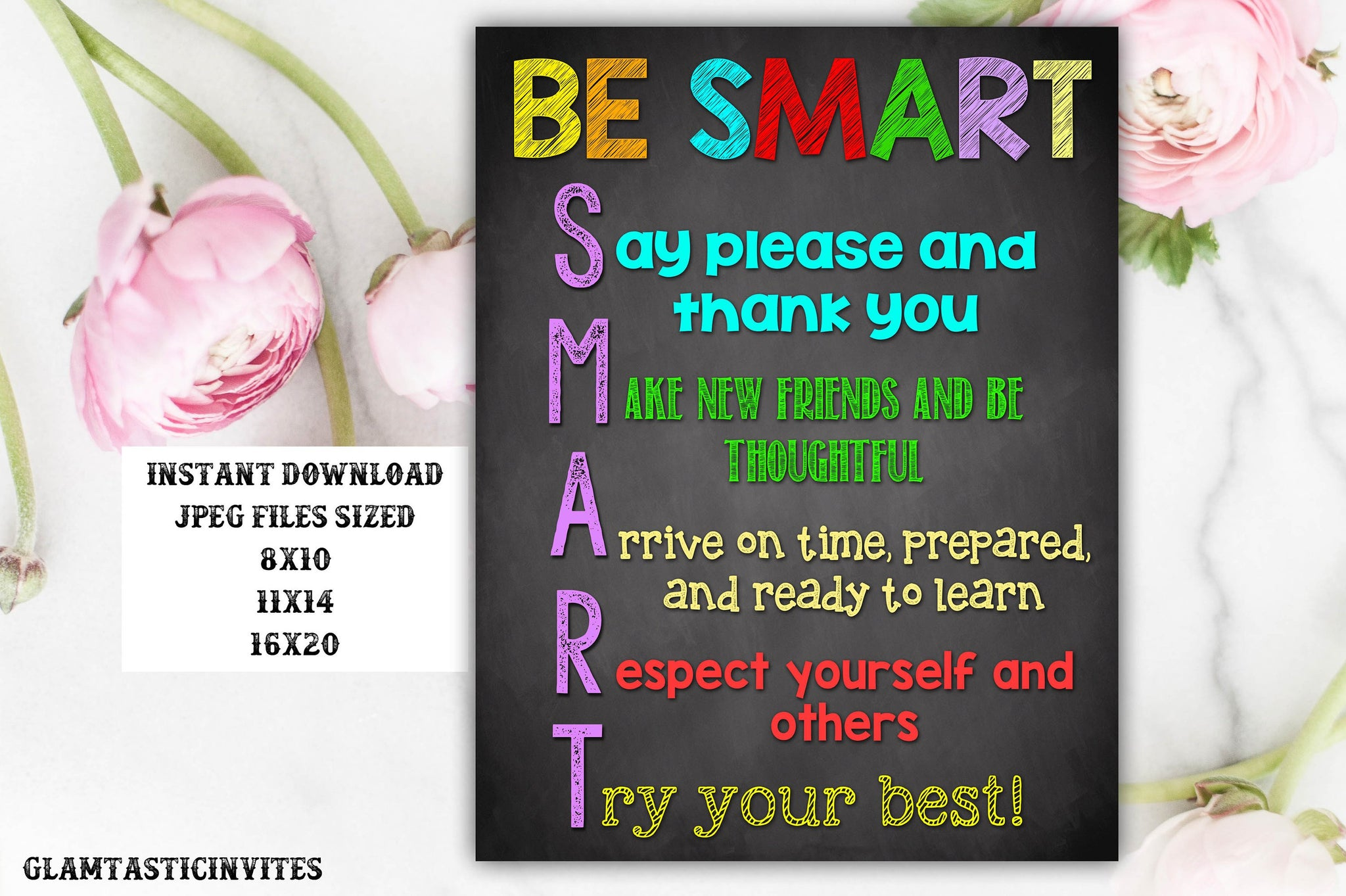 Classroom Decor, Teacher Decor, Be Smart, Good Choices Quotes, Teacher Gift, Educational Decor, Classroom Decoration, Instant Download,Class