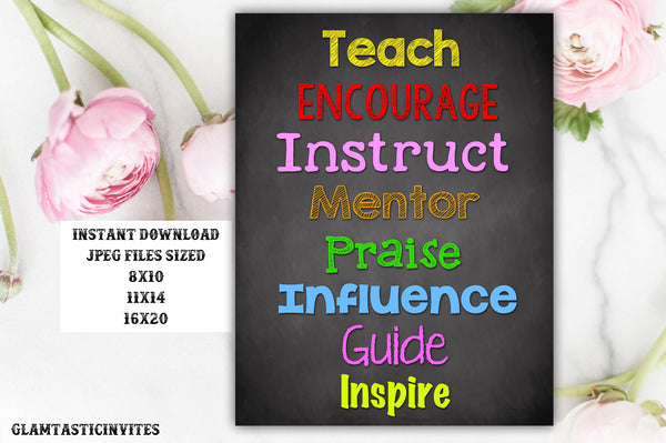 Classroom Decor, Teacher Decor, Educate, Inspire, Teach, Mentor, Instruct, Teacher Gift, Educational Decor, Classroom Decoration, School