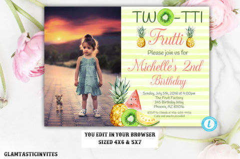 Two-tti Frutti Birthday Invitation Template, Twotii Frutti Birthday Invitation Template, Instant Download, Editable, Fruit Birthday Invite
