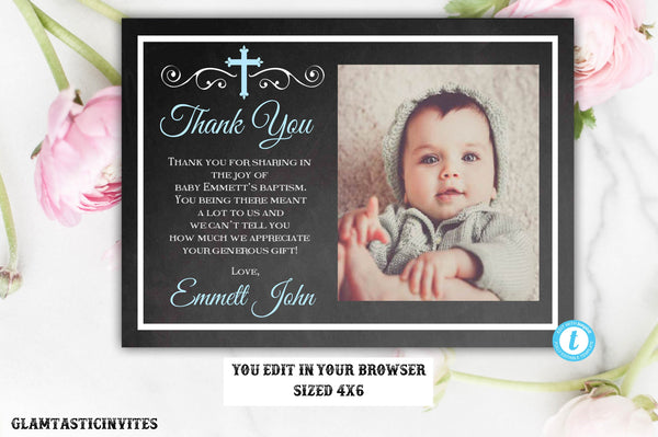 Baptism Thank You Template, Baptism Thank You Printable, Editable Baptism Thank You, Printable Baptism Thank You, Communion Thank You, Blue