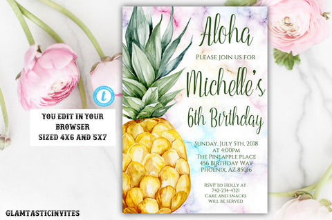 Pineapple Birthday Invitation Template, Pineapple, Instant Download, Editable, Pineapple Template, Summer Birthday Invitation, Fruit Invite