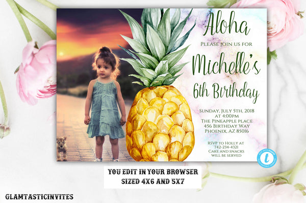 Pineapple Invitation Template, Pineapple Birthday Template, Template, Instant Download, Editable,Printable, Pineapple, Fruit, DIY Invitation