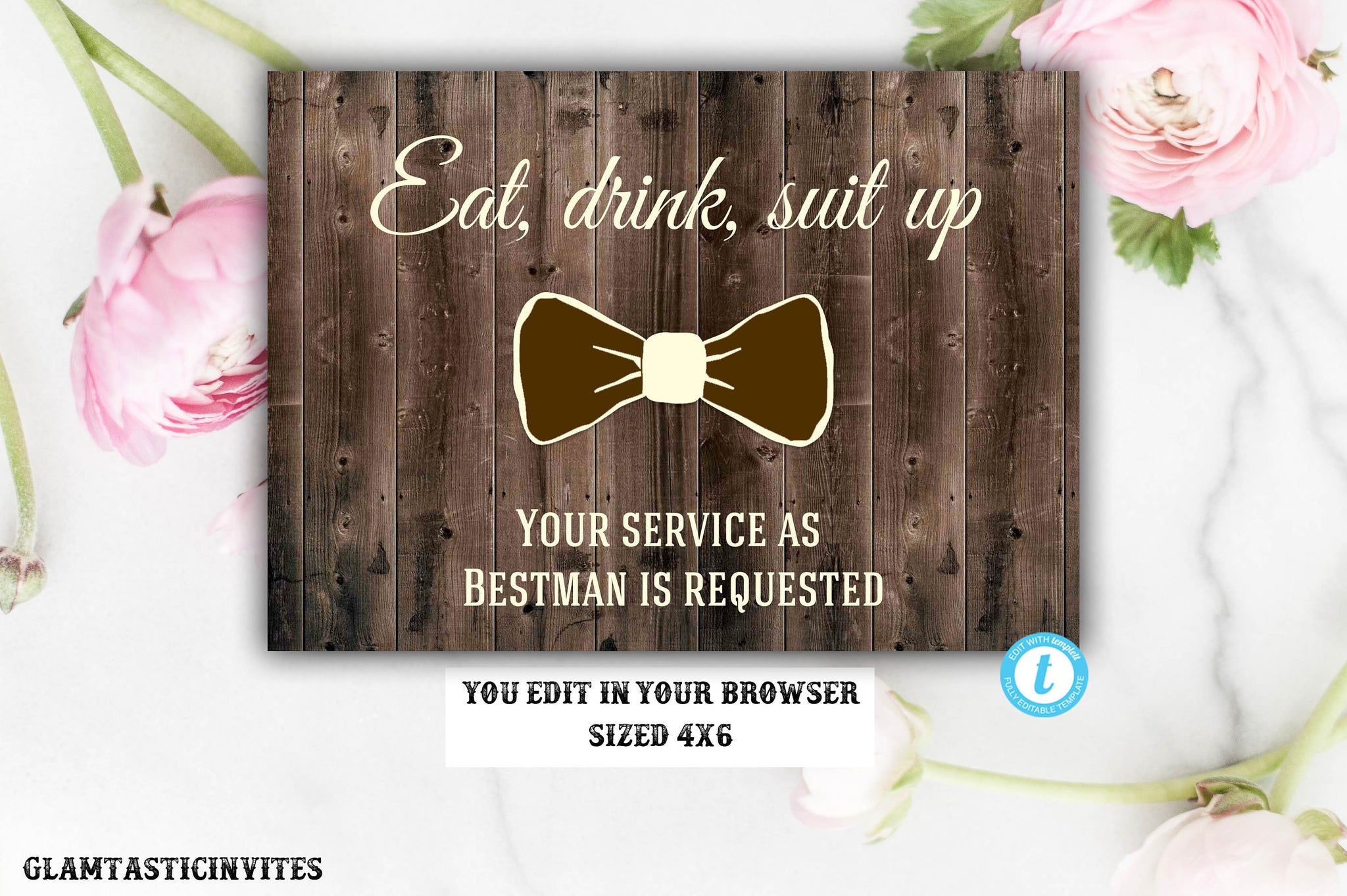 Will you be my Bestman, Rustic Card, Rustic Wedding, Rustic Will you be my Bestman card, Bestman proposal card, Printable, Eat Drink Suit Up