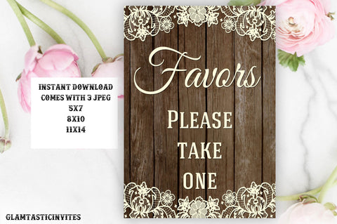 Rustic Favors Sign, Wedding Favors Sign, Baby Shower Favors Sign, Bridal Shower Favors Sign, Wedding Table sign, Lace, Rustic Sign, Rustic