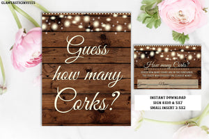 How Many Corks Game, Guess How Many Corks, Rustic Shower Game, Rustic Baby Shower, Rustic Bridal Shower, Rustic Guess how many Corks Game