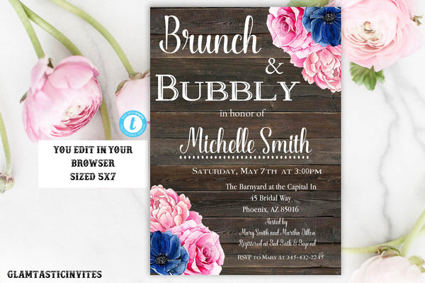 Brunch and Bubbly Invitation, Rustic Brunch and Bubbly Invitation, INSTANT DOWNLOAD, You Edit, Floral Rustic Invite, Rustic Bridal Shower