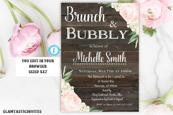 Brunch and Bubbly Invitation, Rustic Brunch and Bubbly Invitation, INSTANT DOWNLOAD, You Edit, Shabby Chic Invite, Rustic Bridal Shower