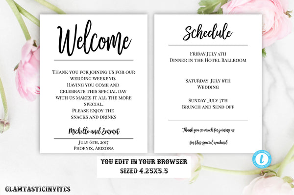 Wedding Welcome Note Template, Welcome Note, Wedding Template, YOU EDIT, Welcome Bag Letter, Hotel Card, Itinerary, Agenda, Printable, DIY