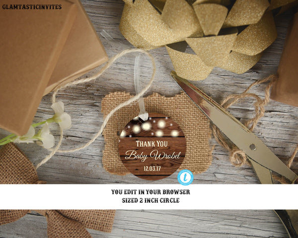 Rustic Thank you Tags, Baby Shower Favor Tags, Template, Wedding Thank you Favor tags, Thank you Stickers, Shower Thank You Tags, You Edit
